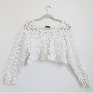 Discovery   White Crochet Long Sleeve Crop Top